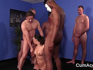 Foxy idol gets cum shot on her face sucking all the ejaculate