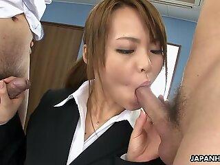Slutty secretary has to suck her colleagues' dicks