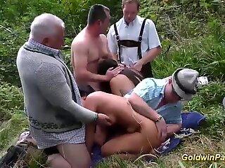 Outdoor Lederhosen Groupsex Orgy