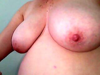 hand job, small cumshot, big hanging tits, hairy pussy