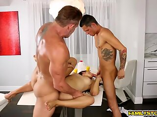 Riding on step dads matured cock on top while sucking step bro